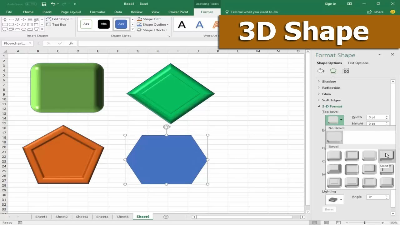 How to Draw or Insert 3D Shape in Microsoft Excel 2017
