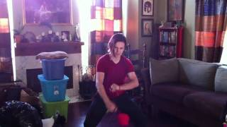 Spinning my new awesome fun poi. (: