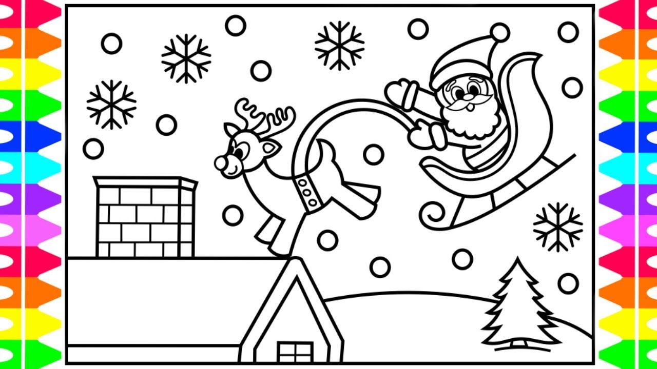 how to draw santa on the rooftop santa claus sleigh coloring page fun coloring pages for kids