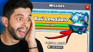GANHEI MEU PRIMEIRO BAÚ LENDÁRIO GRÁTIS NAS MISSÕES! CLASH ROYALE