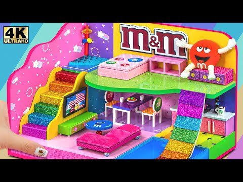 Build Rainbow Candy M&M Mini House Have 4 Rooms From Cardboard ❤️ DIY Miniature Cardboard House #305