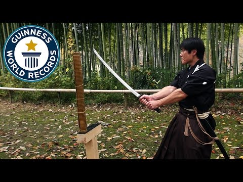Martial arts master attempts katana world record - Japan Tour