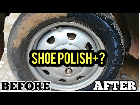 How to clean tyre of cars | Shoe polish hacks| make car tyre shine |