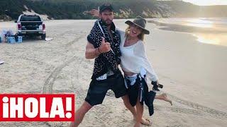 Elsa Pataky y Chris Hemsworth, surf y picnic en la playa con una medusa como invitada
