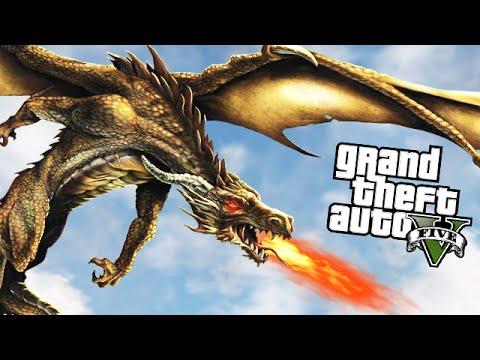 GTA 5 Mods - DRAGON MOD w/ DRAGON ATTACK (GTA 5 Mods Gameplay)