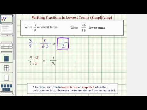 Ex 1:  Simplify Fractions