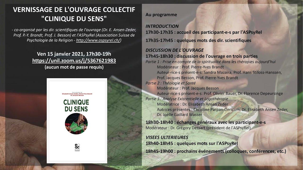 """Vernissage de l'ouvrage collectif """"Clinique du sens"""" - 15.01.2021"""
