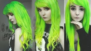 ☯ Dying my hair lime green and yellow ombre