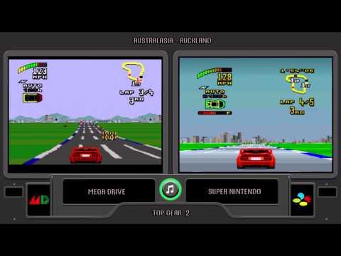 Top Gear 2  (Sega Genesis vs Snes) Side by Side - Comparison
