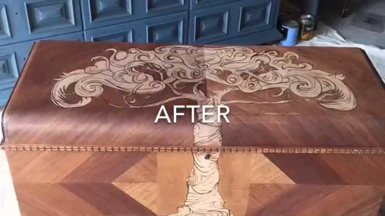 Decorative Stain Art On Cedar Chest By Custom Kate Youtube