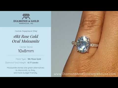 18k Rose Gold Oval Moissanite Engagement Ring