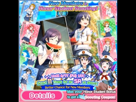 LLSIF Marine Set Scouting 100 loveca, 2 Green Tickets, Blue Ticket