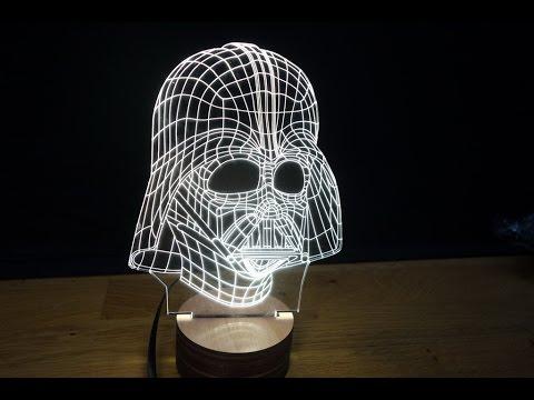 3D Wood Mood Lamp Bulbing Light Star Wars Darth Vader ...