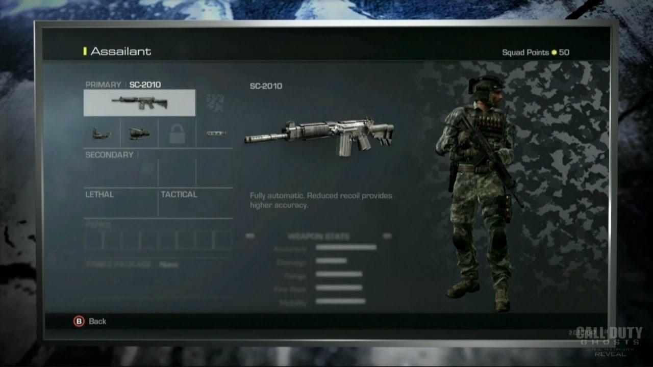 Call of Duty Ghosts: Create a Class Menu, Guns, Perks, ans ...