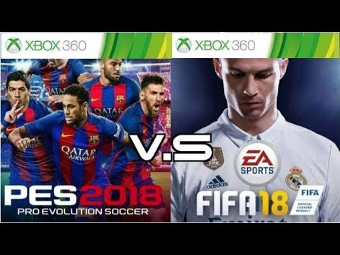 FIFA 18  VS PES 18 - XBOX 360 BARCELONA VS ATLETICO GRAPHICS COMPARISON.