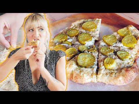 VEGAN Dill Pickle Pizza Recipe | Weird Food Combos | The Edgy Veg
