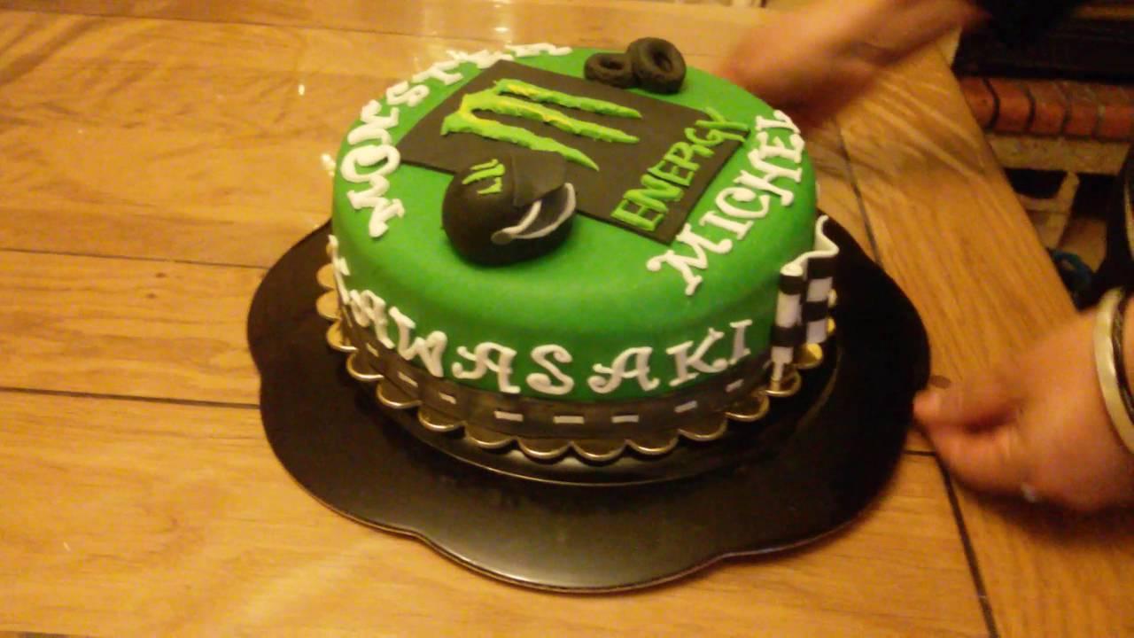 Bien-aimé Gateau cake design pate a sucre Moto cross kawasaki monster energy  WS71