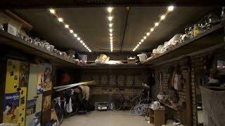 Светодиодное освещение в гараже (Led технологии)(Заменили все лампочки на светодиоды. Энергопотребление составило 40 ватт, а в кладовке 25 ватт., 2014-04-24T18:59:56.000Z)