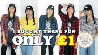 thrifting challenge - i bought clothes for ONLY £1 (merch announcement) | clickfortaz