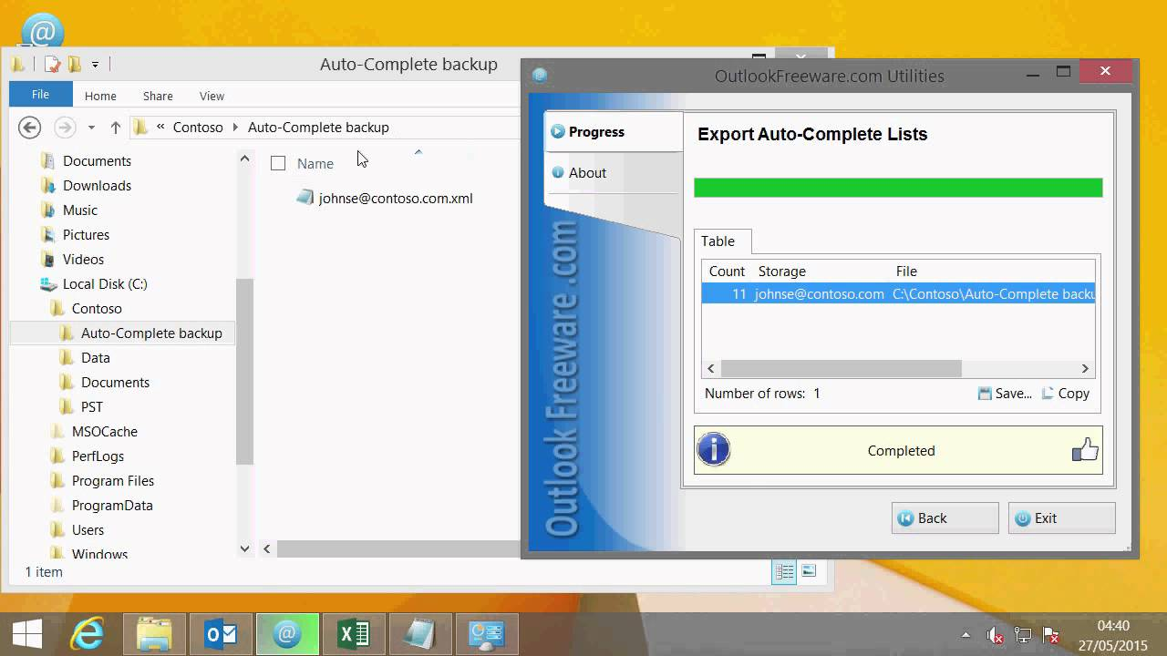 Export or Backup Outlook Auto-Complete List Cache