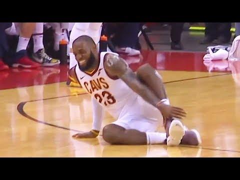 LeBron James Scary Injury (Minor Ankle Injury)   Cleveland Cavaliers vs Houston Rockets