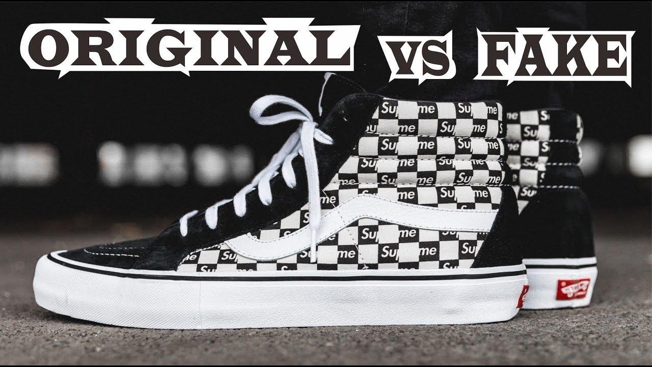 9ab54800fd8 Vans Sk8-Hi Supreme Black Checkered Logo Original & Fake