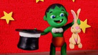 SUPERHERO BABY MAGICIAN MAKING MAGIC TRICKS ❤ SUPERHERO PLAY DOH CARTOONS FOR KIDS