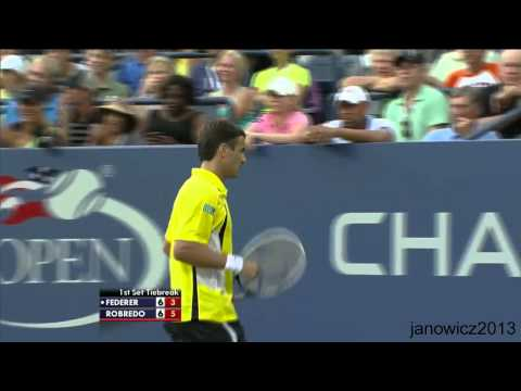 Robredo's amazing passing shots vs Federer|Us Open 2013|R4