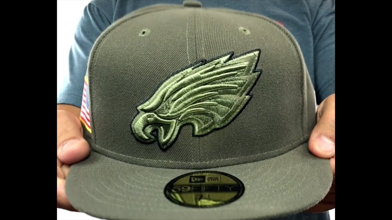 Eagles  2017 SALUTE-TO-SERVICE  Green Fitted Hat by New Era - YouTube c5deedc33e4