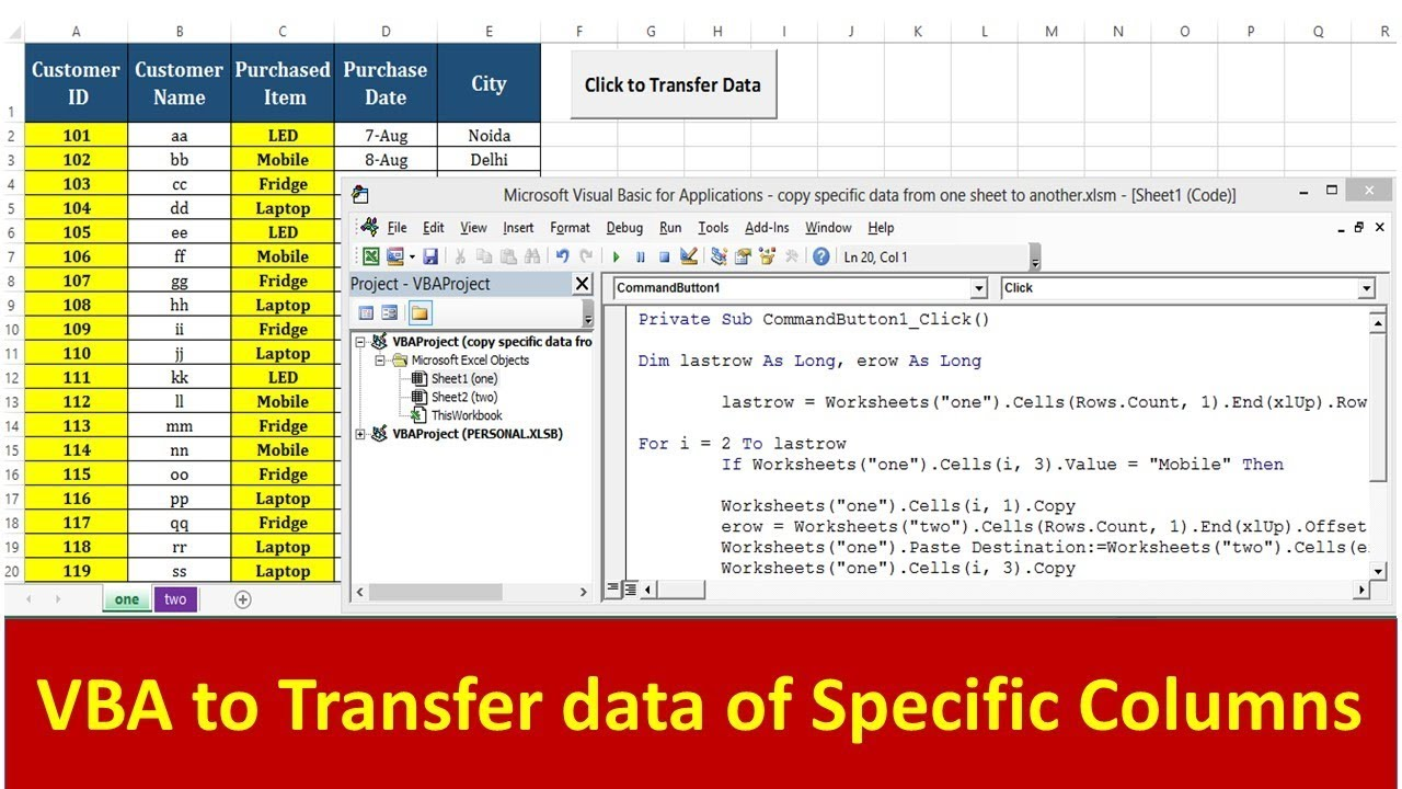 VBA to Copy specific columns from one sheet to another - Advance VBA  Tutorial by Exceldestination