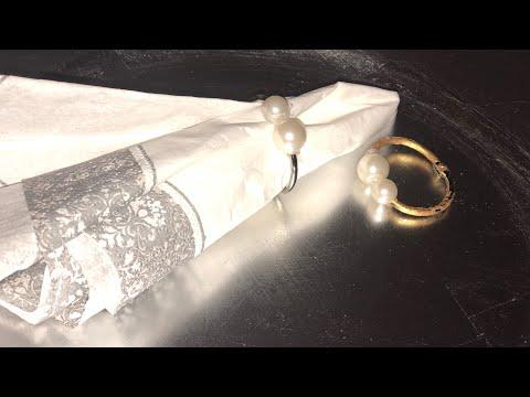 DIY pearl napkin ring holder (dollar tree)