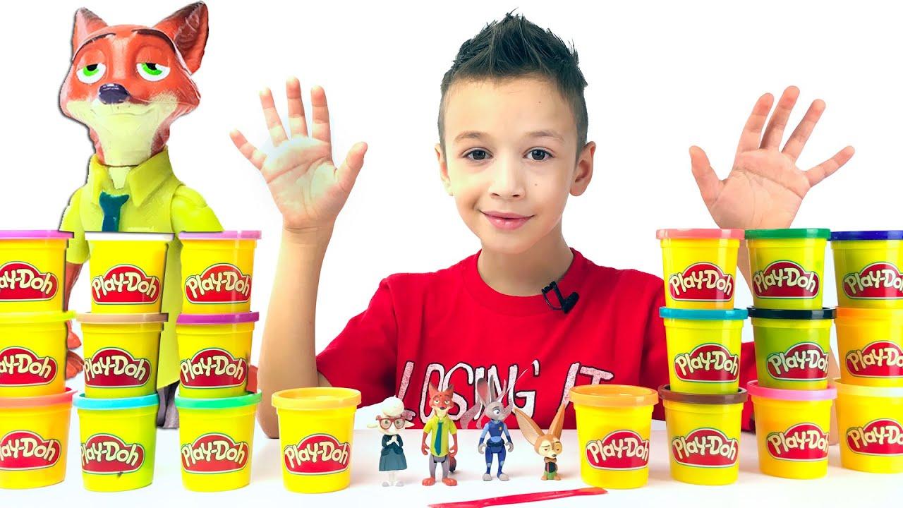 ЗВЕРОПОЛИС Игрушки ! Зоотопия герои мультфильма ! Challenge Play -Doh Лепим из Play -Doh ЗВЕРОПОЛИС