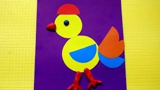 Цыпленок из кругов и полукругов. Аппликации из цветной бумаги. Поделки для детей 2 - 3 лет.