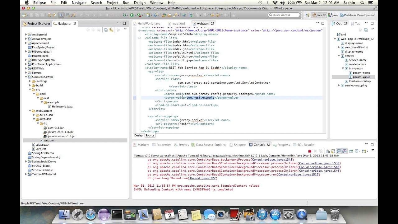 Simple java rest web service tutorial using jersey youtube simple java rest web service tutorial using jersey baditri Images