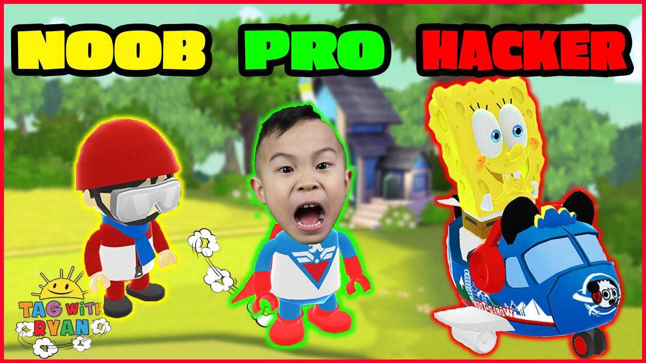 Tag with Ryan Spongebob Skin NOOB vs Pro vs HACKER Kids