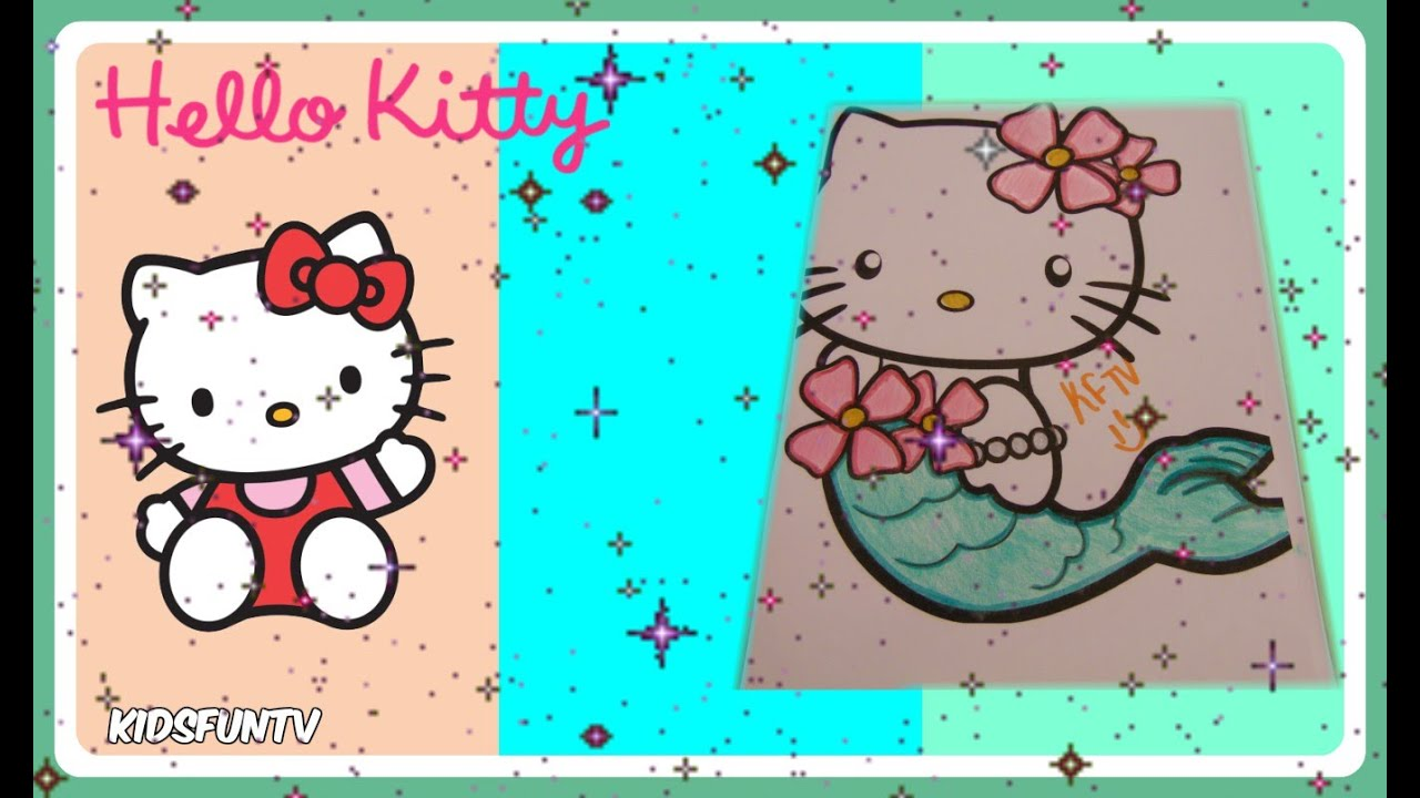hello kitty mermaid coloring page for kids speed color with kidsfuntv - Coloring Pages Kitty Mermaid