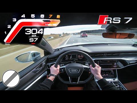 2020 AUDI RS7 Top Speed +300km/h AUTOBAHN POV 600hp