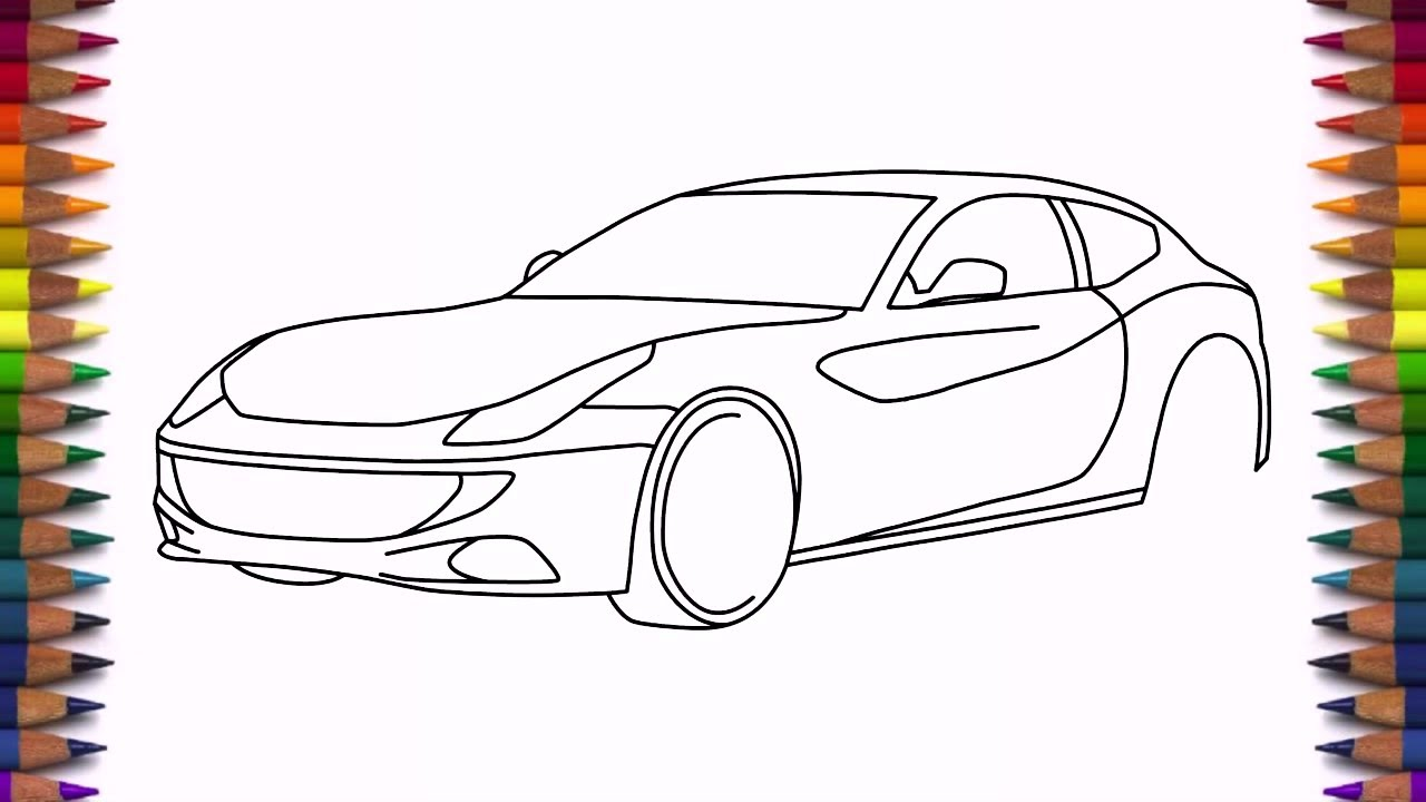 How to draw Ferrari FF step by step easy drawing a car ...