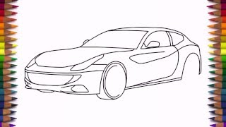 How to draw Ferrari FF step by step easy drawing a car