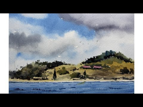 Easy Watercolor painting landscape by sikander singh chandigarh India