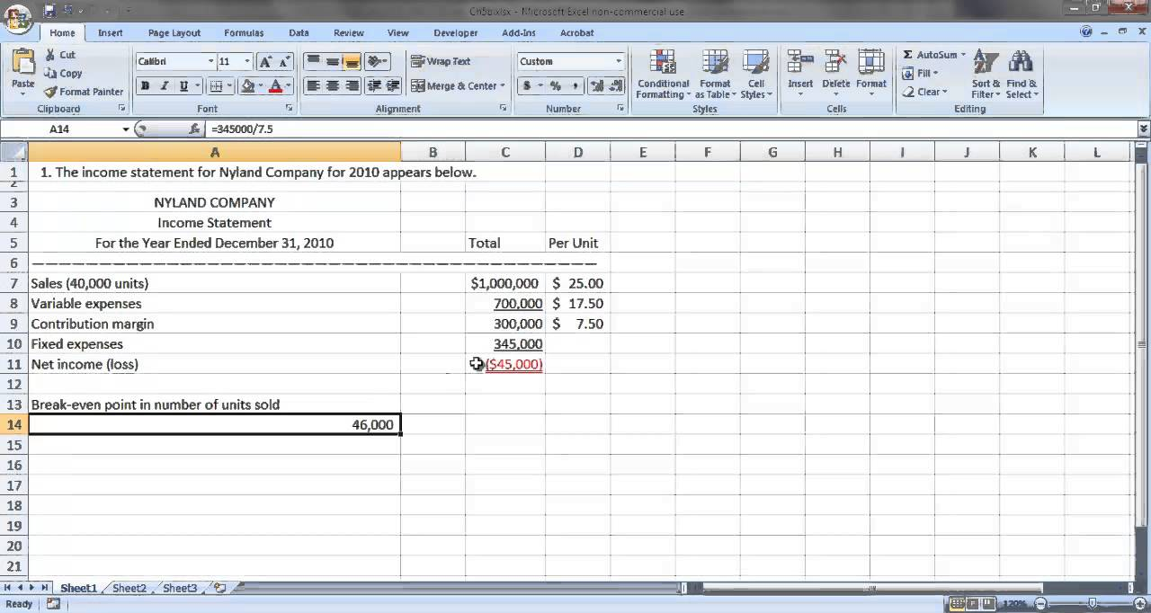calculate break even point in excel