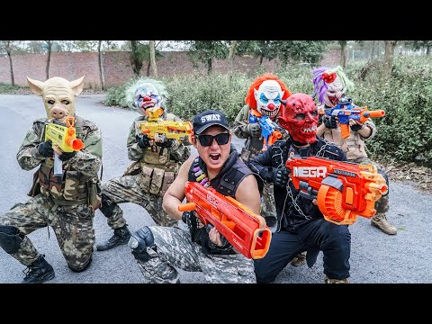 LTT Films : Two Silver Flash Nerf Guns Fight Criminal Group Tiger Mask Overwhelming Duo