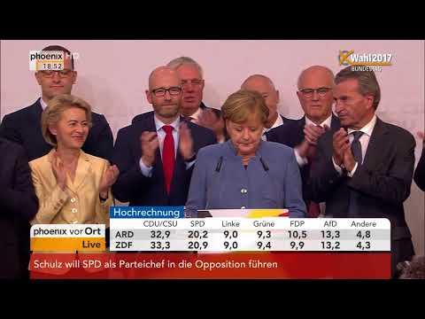Bundestagswahl 2017: Rede von Angela Merkel zu den vorläufigen Wahlergebnissen am 24.09.2017