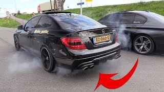 Mercedes C63 AMG W204 Coupé V8 Kompressor SOUNDS & BURNOUTS!