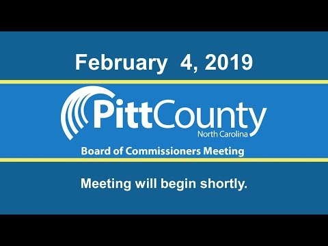 Pitt County Board of Commissioners Meeting for Monday, February 4, 2019