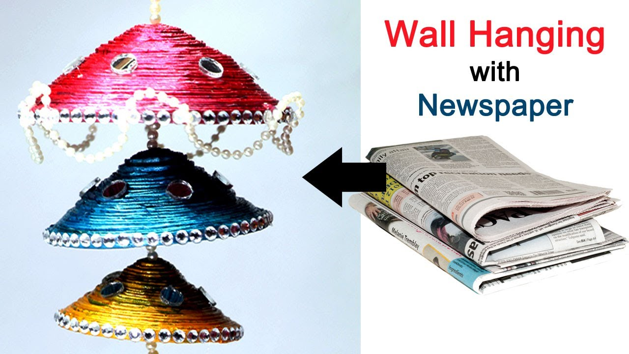 Newspaper wall hanging newspaper wind chime best out for Best out of waste ideas for class 8