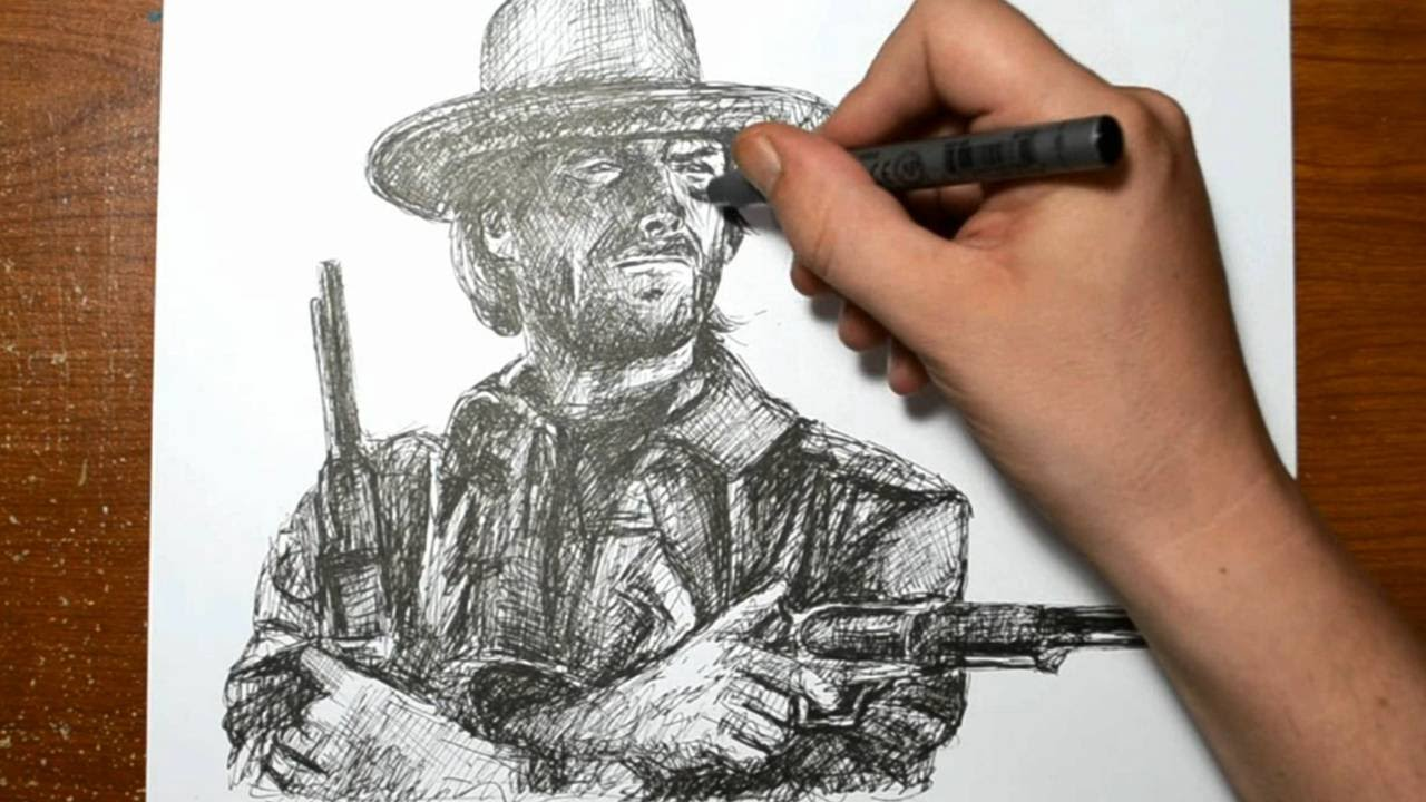 Fine Line Art : Drawing clint eastwood with a fine line pen quick sketch youtube