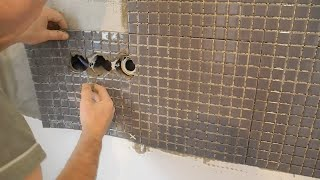 Укладка мозаики на кухне ч.4