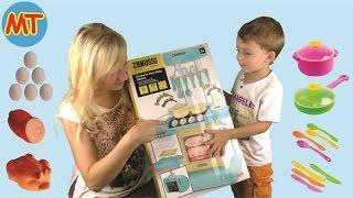 видео Детская портативная кухня Zanussi (Занусси) электронная в чемодане HTI, со светом и звуком