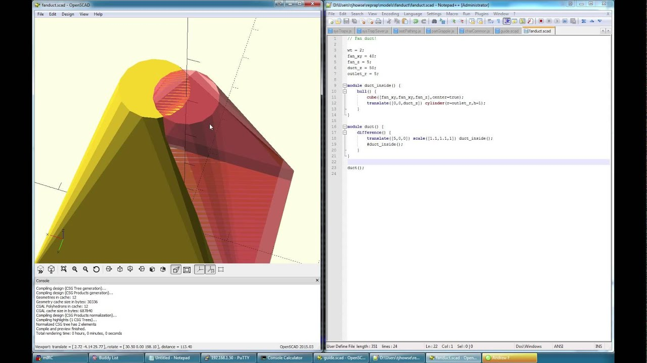 OpenSCAD: Designing a fan duct from scratch